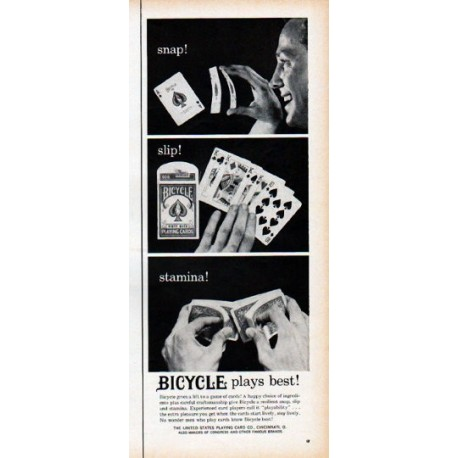 """1961 Bicycle Playing Cards Ad """"snap!"""""""