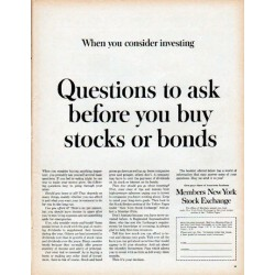 "1961 Members New York Stock Exchange Ad ""Questions to ask"""