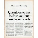 """1961 Members New York Stock Exchange Ad """"Questions to ask"""""""