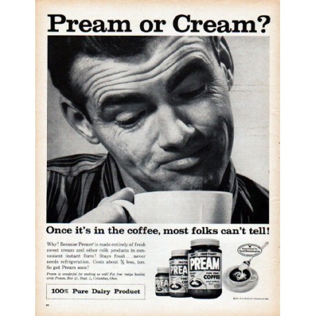 "1961 Pream Ad ""Pream or Cream"""