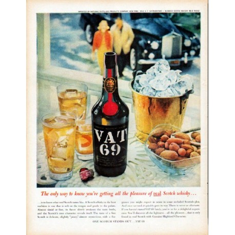 """1961 VAT 69 Scotch Ad """"The only way to know"""""""