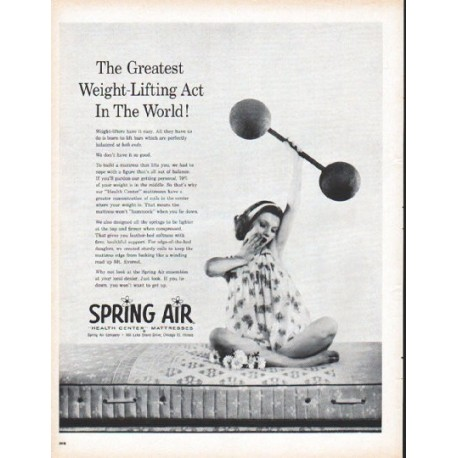 "1961 Spring Air Mattress Ad ""Weight-Lifting Act"""