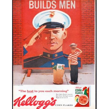 "1961 Kellogg's Corn Flakes Ad ""Builds Men"""