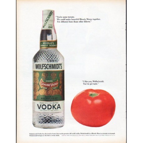 "1961 Wolfschmidt's Vodka Ad ""You're some tomato"""