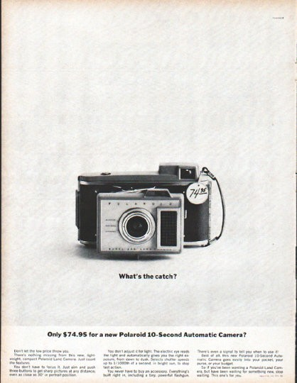 1961 Polaroid Vintage Ad Quot What S The Catch Quot