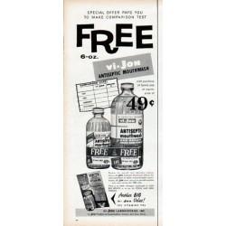 "1961 vi-Jon Mouthwash Ad ""FREE"""