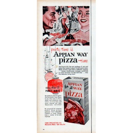 1961 Appian Way Pizza Ad Party