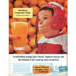 """1961 Florida Citrus Commission Ad """"orange juice """"break"""""""""""