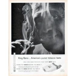 """1961 King Sano Cigarettes Ad """"America's purest tobacco taste"""""""