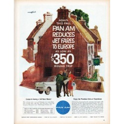 "1961 Pan Am Airline Ad ""Again This Fall"""