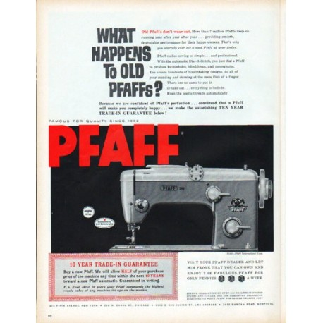 "1961 Pfaff Sewing Machine Ad ""What happens to old Pfaffs?"""