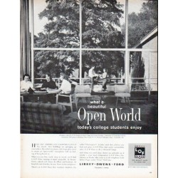 "1961 Libbey * Owens * Ford Glass Ad ""Open World"""