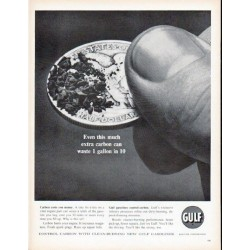 "1961 Gulf Oil Ad ""extra carbon"""