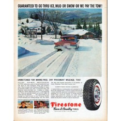 "1961 Firestone Tires Ad ""Guaranteed"""