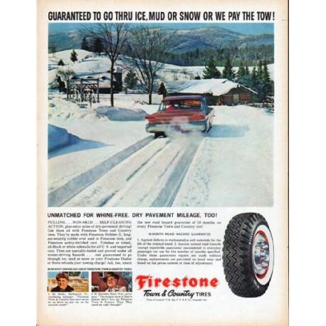 "1961 Firestone Tires Ad ""Guaranteed"""
