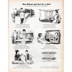 "1961 Sanforized Ad ""hurt by a shirt"""