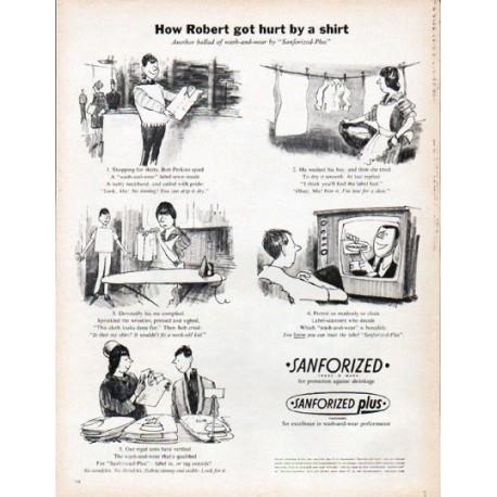 "1961 Sanforized Ad ""hurt by a shirt"""