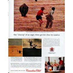 "1961 Canadian Club Whisky Ad ""angry rhino"""