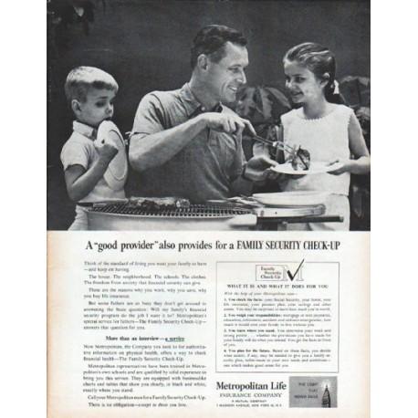 "1961 Metropolitan Life Insurance Company Ad ""good provider"""
