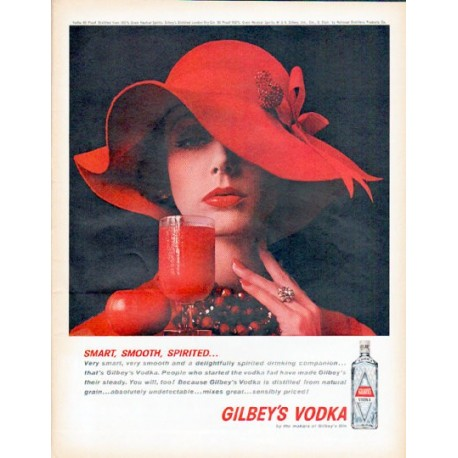 "1961 Gilbey's Vodka Ad ""Smart, Smooth, Spirited"""