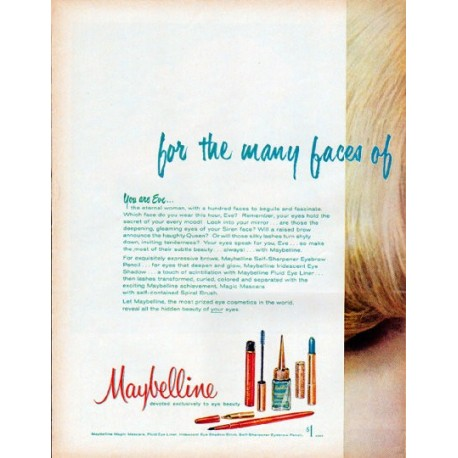 """1961 Maybelline Ad """"for the many faces"""""""