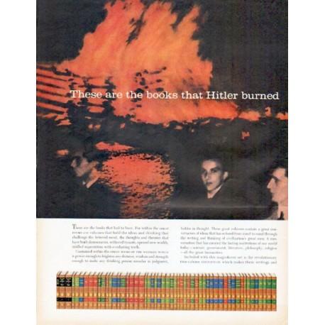 """1961 Great Books Ad """"Hitler burned"""""""