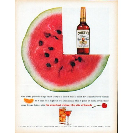 "1961 Corby's Whiskey Ad ""pleasant things"""