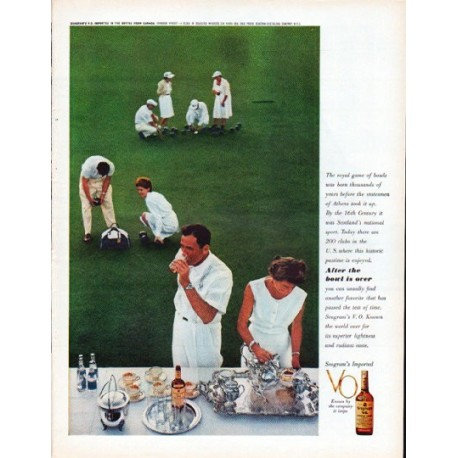 """1961 Seagram's Whiskey Ad """"The royal game of bowls"""""""