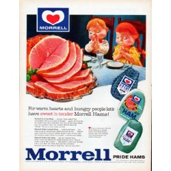 "1961 Morrell Hams Ad ""For warm hearts"""