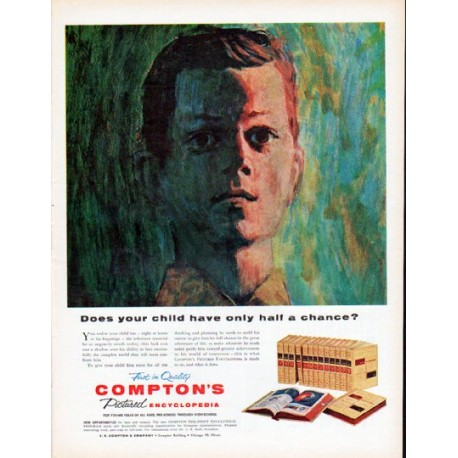 "1961 Compton's Encyclopedia Ad ""half a chance"""