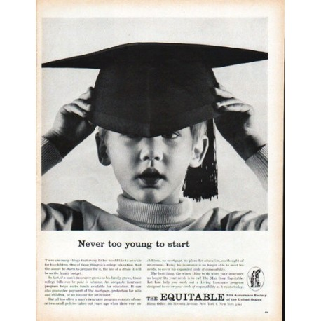 "1961 The Equitable Life Assurance Society Ad ""Never too young"""
