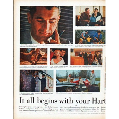 "1961 The Hartford Insurance Ad ""your Hartford Agent"""