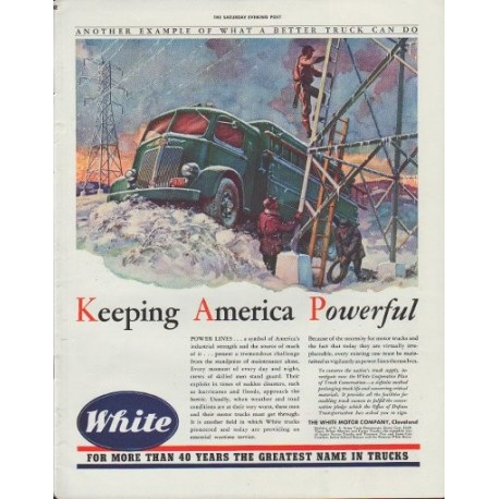 "1942 White Trucks Ad ""Keeping America Powerful"""