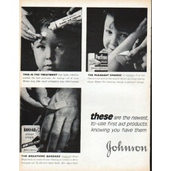 "1961 Johnson & Johnson Ad ""first aid products"""