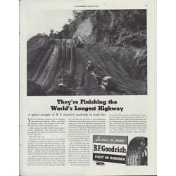 "1942 B.F. Goodrich Ad ""World's Longest Highway"""
