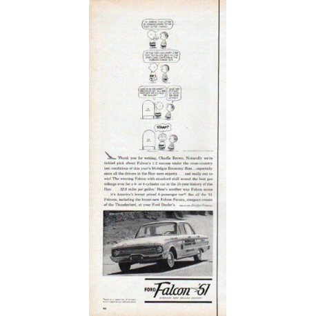 """1961 Ford Falcon Ad """"Thank you for writing, Charlie Brown"""""""