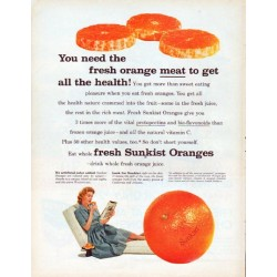 "1961 Sunkist Oranges Ad ""fresh orange meat"""
