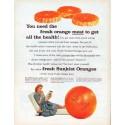 "1961 Sunkist Oranges Ad ""fresh orange meat"""