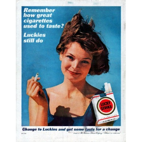 """1961 Lucky Strike Cigarettes Ad """"Remember how great"""""""