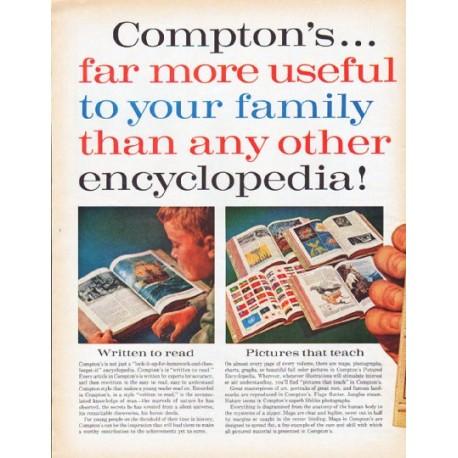 "1962 Compton's Encyclopedia Ad ""far more useful"""