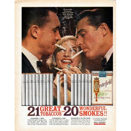 """1962 Chesterfield Cigarettes Ad """"Wonderful Smokes"""""""