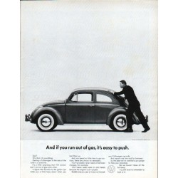 "1962 Volkswagen Ad ""if you run out of gas"""