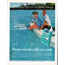 """1962 Newport Cigarettes Ad """"Newport refreshes"""""""