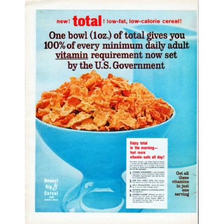 "1962 total cereal Ad ""One bowl"""