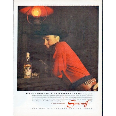 "1962 Smirnoff Vodka Ad ""Never gamble with a stranger"""