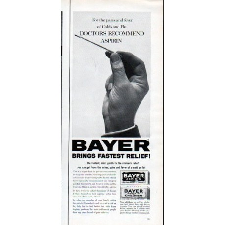 "1962 Bayer Aspirin Ad ""For the pains and fever"""