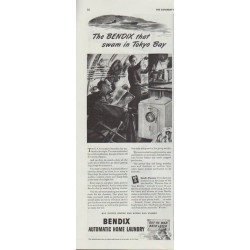 "1942 Bendix Automatic Home Laundry Ad ""... swam in Tokyo Bay"""