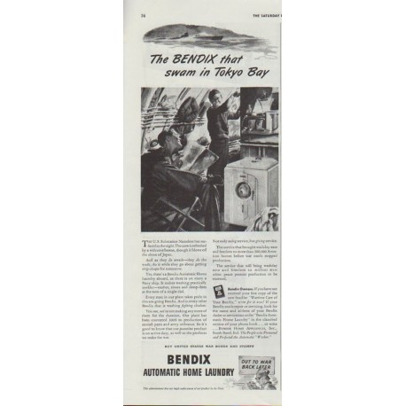 """1942 Bendix Automatic Home Laundry Ad """"... swam in Tokyo Bay"""""""