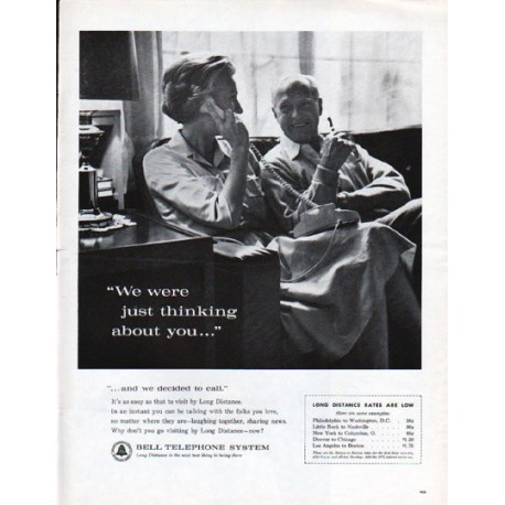 "1962 Bell Telephone System Ad ""thinking about you"""