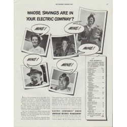 "1942 Electric Companies Ad ""Whose savings are in your electric company?"""